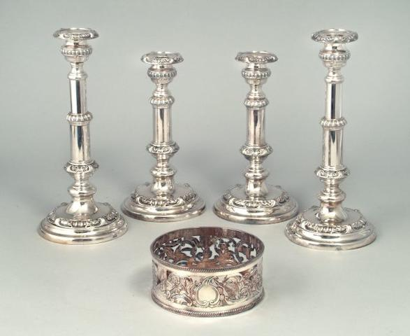 A set of four 19th Century Old Sheffield Plate telescopic candlesticks by Roberts, Cadman and Co., circa 1815  (4)