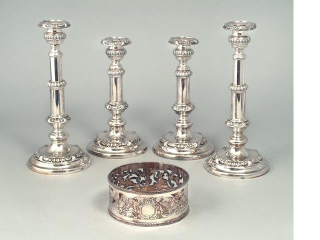 A set of four 19th Century Old Sheffield Plate telescopic candlesticks by Roberts, Cadman and Co., circa 1815