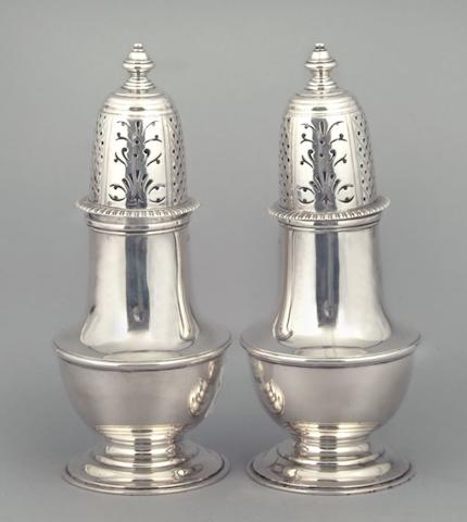 A pair of George V sugar castors by Henry Stratford Limited, Sheffield 1922