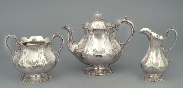 A Victorian three-piece tea service by Martin Hall and Co., Sheffield 1861