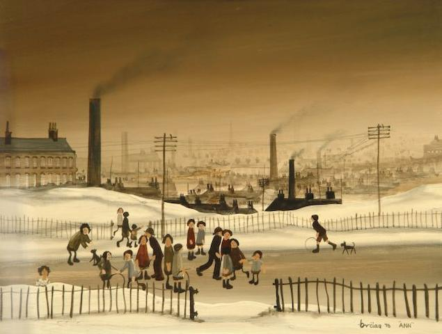 Brian Shields  (Braaq) (British, 1951-1997) 'Industrial landscape with Me'