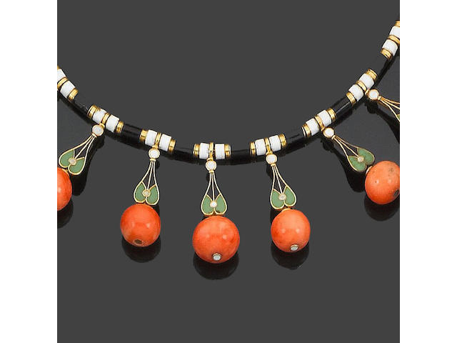 A late 19th century coral and enamel fringe necklace,