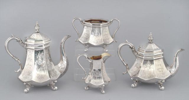 A Victorian four-piece tea and coffee set by Hawksworth Eyre and Co., Sheffield 1843