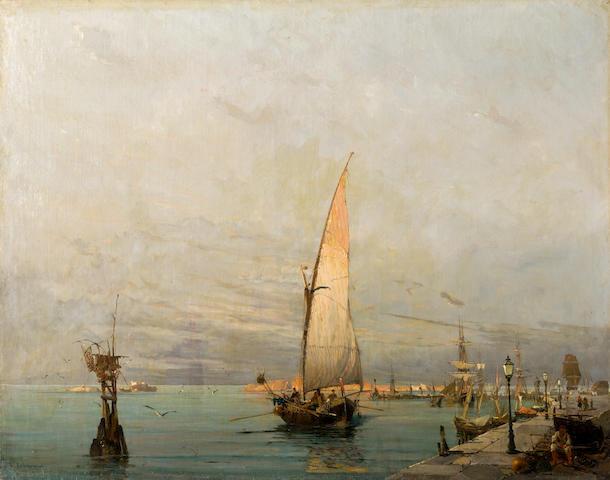 Constantinos Volanakis (Greek, 1837-1907) Harbour scene 56 x 71 cm.