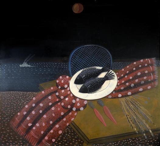 Alecos Fassianos (Greek, born 1935) Poissons de la nuit 181 x 187 cm.