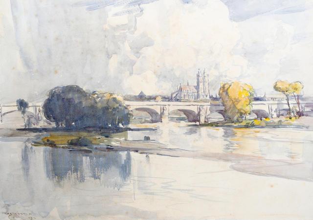 Arthur Streeton (Australian, 1867-1943) River scene