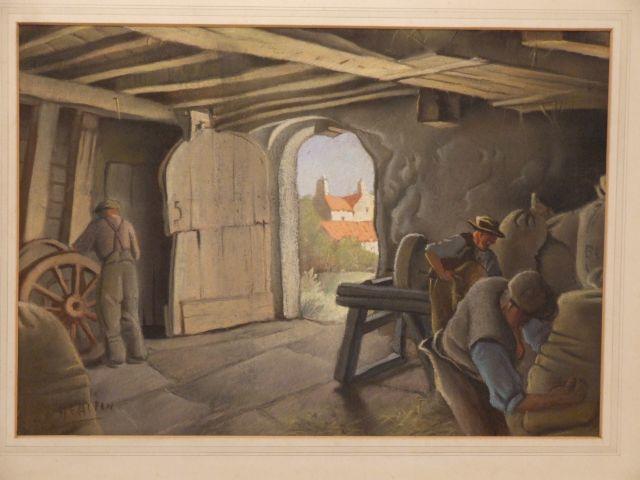 Harry Epworth Allen (British, 1894-1958) 'Barn Interior in Derbyshire'