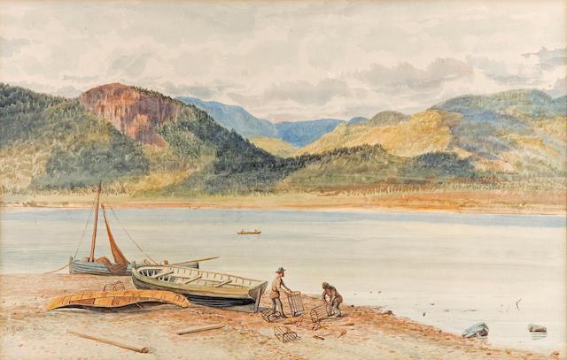 Thomas Mower Martin, RCA, OSA (Canadian, 1838-1934) Lobster fishermen repairing their traps