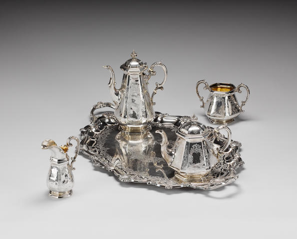 A Victorian silver four piece tea & coffee service, by John C. Angell & George Angell, London 1846,