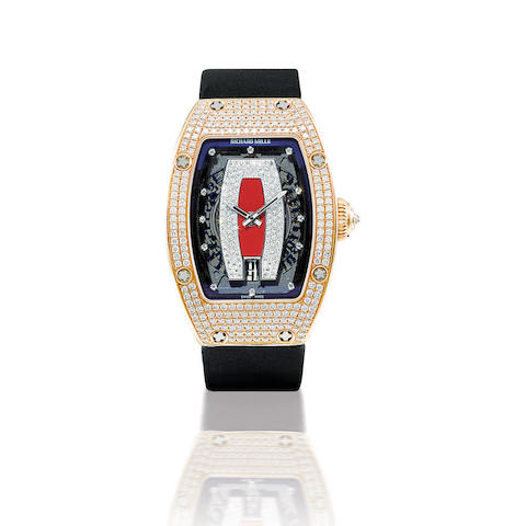 Richard Mille. A fine 18ct rose gold automatic lady's wristwatch with diamonds RM007, Case no. AF PG DDS/180, Circa 2006