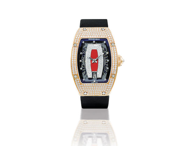 Richard Mille. A fine 18ct rose gold automatic lady's wristwatch with diamondsRM007, Case no. AF PG DDS/180, Circa 2006