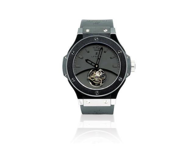 Hublot. A very fine and rare ceramic manual wind limited edition wristwatch with tourbillonTourbillon Solo Bang Black Ceramic, Ref: 305, Case no. 44/50, Circa 2007