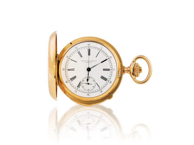 Patek Philippe. An 18ct gold hunter chronograph with minute repeater pocket watch Case no. 207681, Circa 1920s