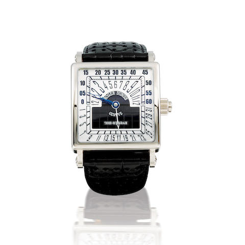 Roger Dubuis. A very fine and rare 18ct white gold automatic limited edition retrograde wristwatch Golden Square Tri-Retrograde, Ref: G4057990GN1.6A, Case no. 10/28, Circa 2004