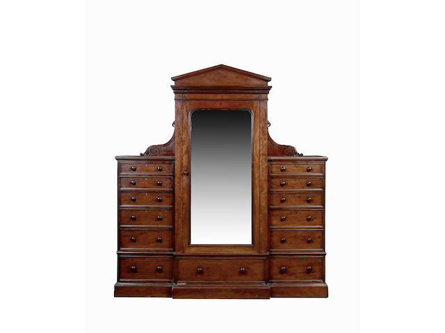 An early Victorian  mahogany combination wardrobe,