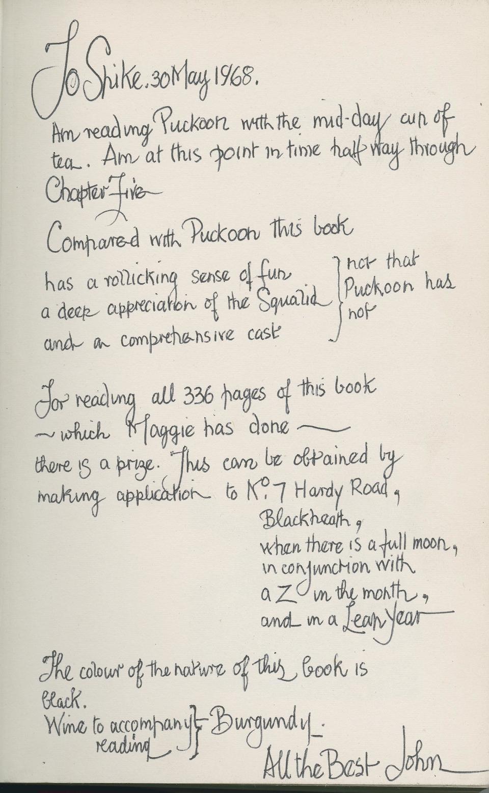 BRATBY (JOHN), Breakdown, First Edition, PRESENTATION COPY TO SPIKE MILLIGAN,