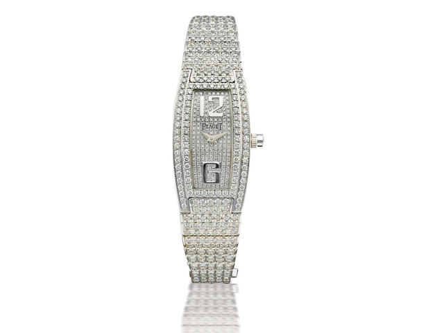 Piaget. A fine and rare 18ct white gold and diamond quartz lady's wristwatch Limelight Barrel Shaped Ladies Diamond Wristwatch, Ref: GOA26054, Circa 2005