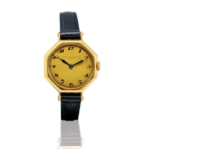 Patek Philippe. A very rare and fine 18ct gold manual wind wristwatchCase number 600002, Circa 1919