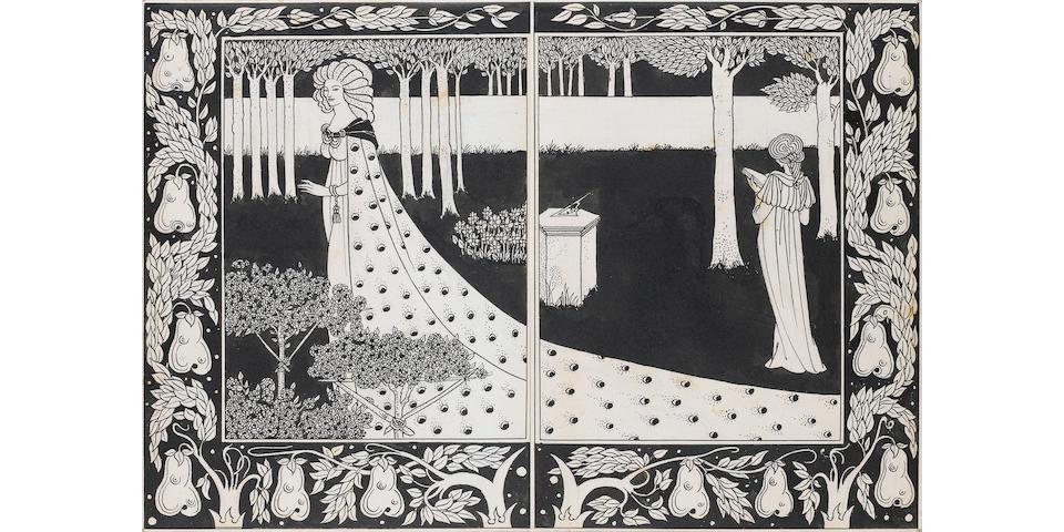 Aubrey Vincent Beardsley (British, 1872-1898) La Beale Isould at Joyous Gard 26cm x 19cm. (10 1/4 x 7 1/2 in.), the other 26cm x 19cm. (10 1/4 x 7 1/2 in.) unframed