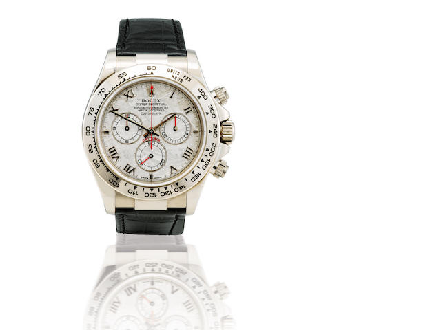 Rolex. A very fine 18ct white gold automatic chronograph wristwatch with meteorite dial Daytona, Ref: 116519, Case no. Y401890, Circa 2000s
