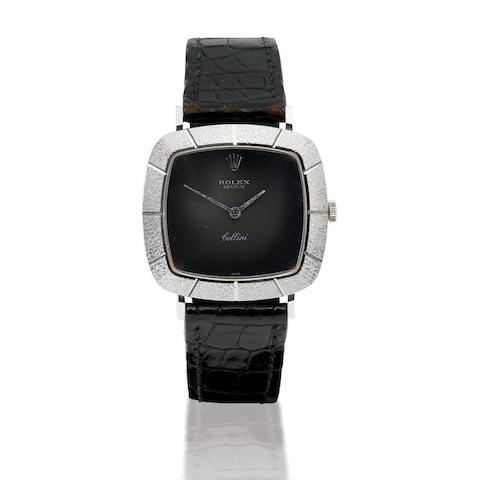 Rolex. A fine 18ct white gold manual wind wristwatch Cellini, Case no. 2467246, Circa 1980s