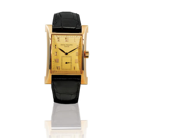 Patek Philippe. A fine and very rare 18ct gold manual wind commemorative limited edition flared rectangular wristwatch Pagoda, Ref: 5500, Case no. 4013552, Movement no. 1852449, Circa 1997