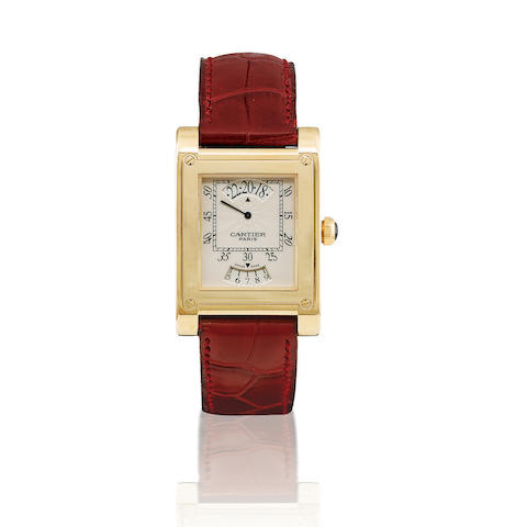 Cartier. A fine and rare 18ct gold manual wind retrograde display wristwatch with date Collection Privée, Tank à Vis, Ref: W1534451, Case no. 108 MG, Circa 2005