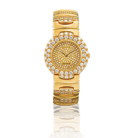 Rolex. A fine and rare 18ct gold and diamond manual wind lady's wristwatch Ref: 5190/8, Case no. L608901