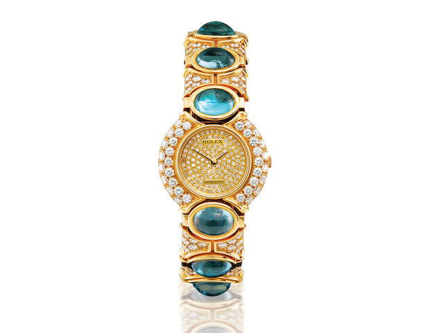 Rolex. A fine and rare 18ct gold, blue topaz and diamond manual wind lady's wristwatch Datejust, Ref: 2706/8, Case no. E463171