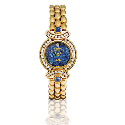 Rolex. A fine and rare 18ct gold, azurite and diamond manual wind lady's wristwatchCellini, Ref: 5184/8, Case no. W50422