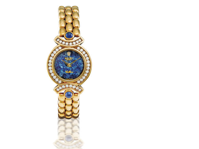 Rolex. A fine and rare 18ct gold, azurite and diamond manual wind lady's wristwatch Cellini, Ref: 5184/8, Case no. W50422