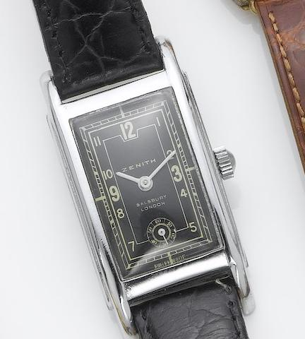 Zenith. A stainless steel rectangular wristwatch retailed by Salisbury London  1940's