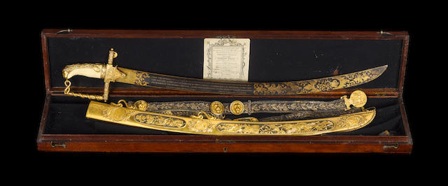 A Fine And Rare Cased Lloyd's Patriotic Fund Sword And Belt Of £100 Value To Jaheel Brenton Esq., Ca