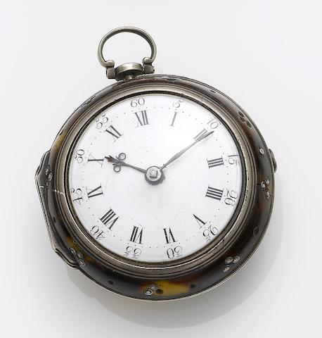F.Parkinson, London. A silver and tortoiseshell pair case pocket watch London Hallmark for 1736