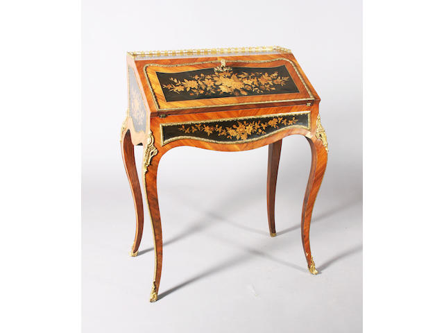 A late 19th Century, Louis XV style, kingwood and gilt brass mounted bureau de dame
