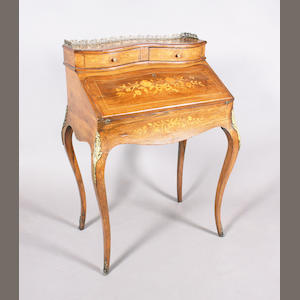 A late 19th century French Louis XV style rosewood, floral marquetry and line inlaid bureau de dame