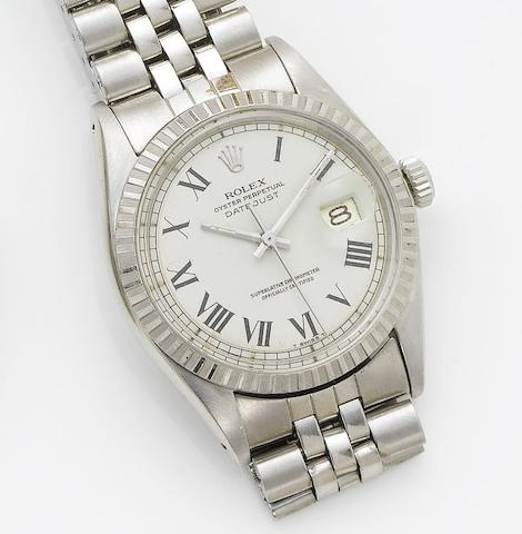 Rolex. A stainless steel centre seconds calendar bracelet watch  Datejust, 1973