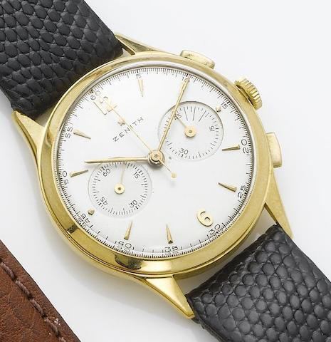 Zenith. An 18ct gold chronograph wristwatch 1950's