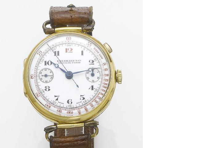 Eberhard & Co. An 18ct gold chronograph wristwatch 1920's