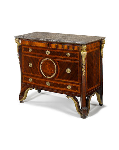 A rare Italian 18th century ormolu-mounted kingwood, fruitwood, marquetry and parquetry commode circ