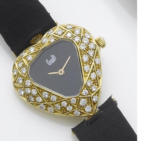 Graff. A lady's 18ct gold diamond set heart shaped wristwatch  1980's