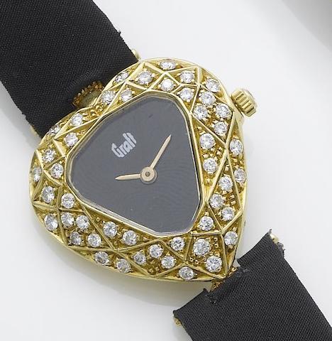 Graff. A lady's 18ct gold diamond set heart shaped wristwatch  1980's
