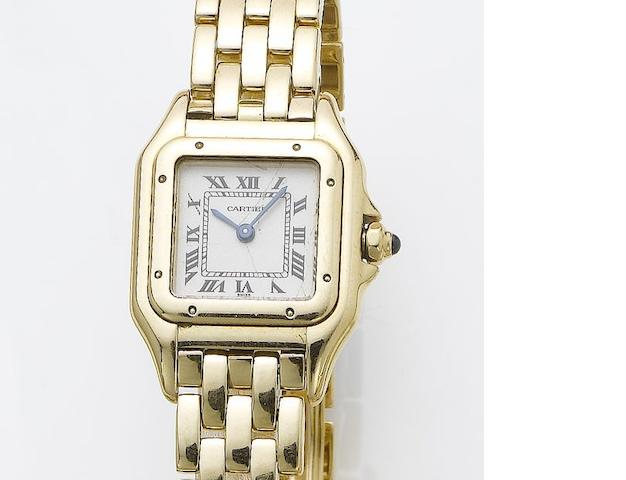 Cartier. A lady's 18ct gold bracelet watch together with fitted presentation box and papers Panthere, Serial No.CC850605, Sold July 31st, 2000