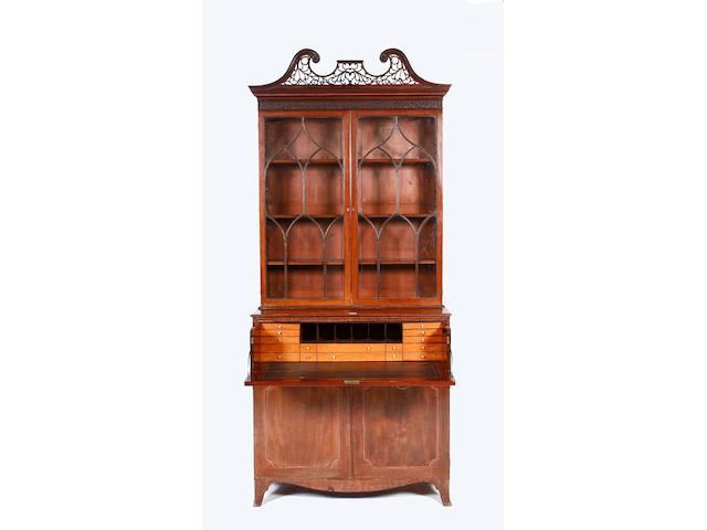 A George III mahogany secretaire bookcase,