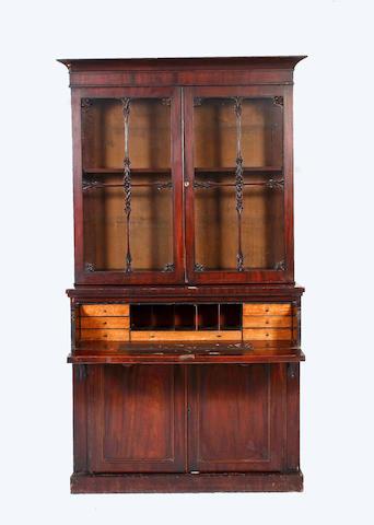 An early Victorian mahogany secretaire bookcase,