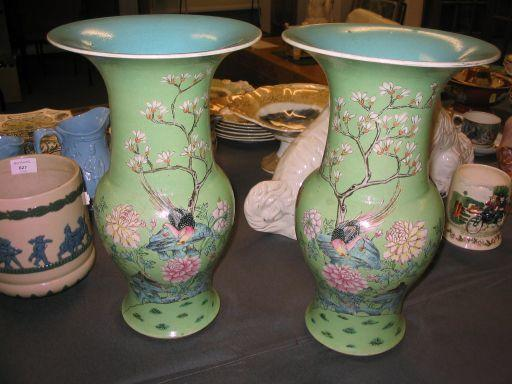 A pair of famille rose turquoise-ground yen yen vases, 19th century