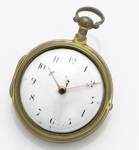 George Graham, London. A late 17th century gilt metal pair case pocket watch