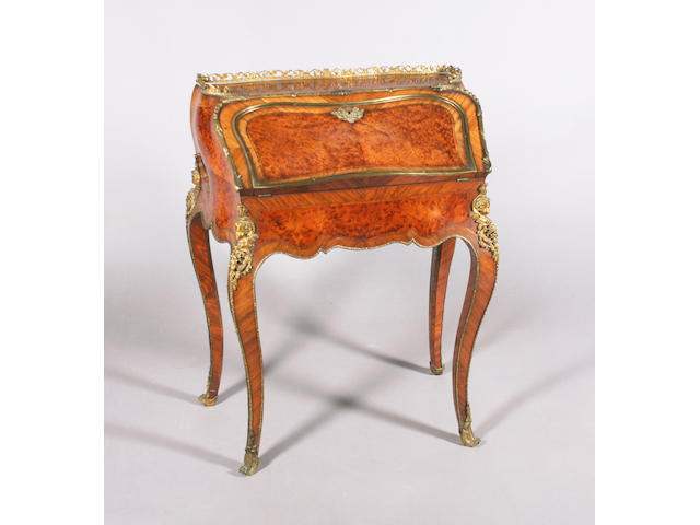 A late 19th century Louis XV style amboyna, crossbanded and kingwood bureau de dame