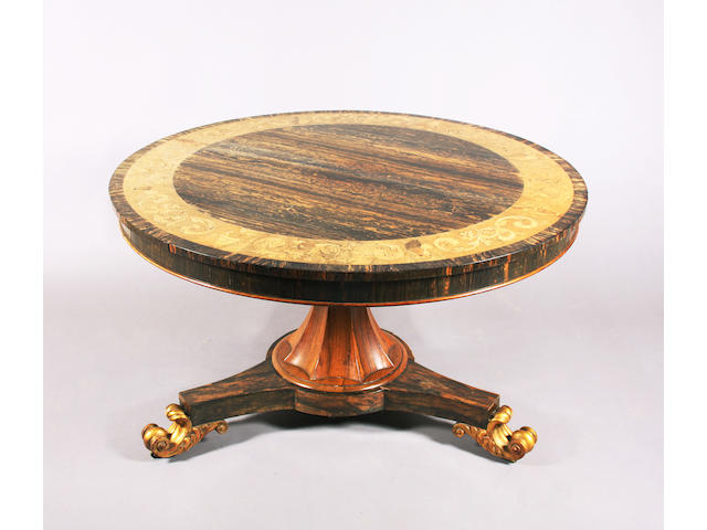 A William IV coromandel breakfast table, stamped 'Wilson'