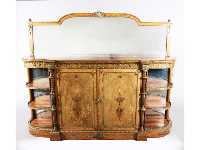A fine mid-19th century French style burr and figured walnut kingwood crossbanded, line and marquetry inlaid and gilt brass mounted credenza
